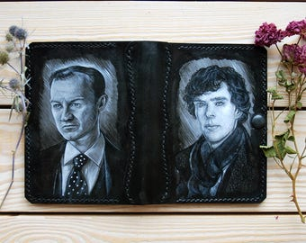 Leather painted passport cover Brothers Holmes