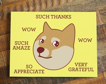 """Funny Thank You Card """"Such Thanks"""" - Doge Card, Shiba Inu Greeting Card, Shibe Card, Meme Card, Geeky Thanks Card, Dog Thanks Note"""