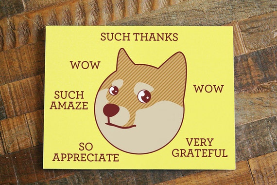 Funny Thank You Card Such Thanks Doge Card