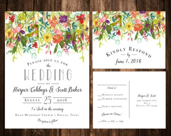 Bright Bohemian Wildflower Wedding Invitations; Printable OR set of 25