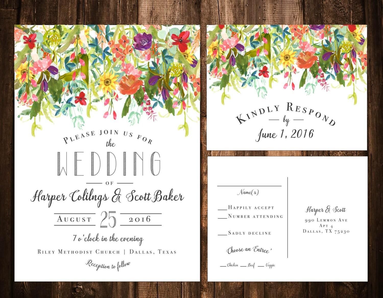 Bright Bohemian Wildflower Wedding Invitations Printable OR
