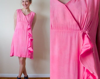 1960s Pink Ruffle Mini Babydoll Dress