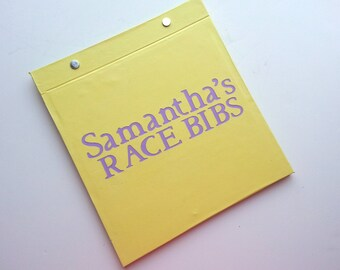 Race Bib Holder - Personalized Race Bibs - Personalized with name -  Hand-bound Book for Runners - Pale Yellow and Light Purple