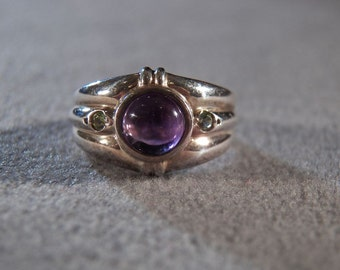 Vintage Sterling Silver Round African Amethyst 2 Peridot Fancy Bold Band Ring, Size 6        **RL