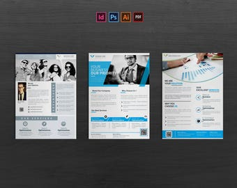 Corporate Flyer | Photoshop | Indesign | Illustrator | 03 Layouts | Easy to edit | a4 size | CMYK | Full Layered | Template | Ready to print