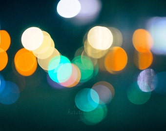 Bokeh Night City Lights Instant Digital Download Art Photography Printable, emerald blue and yellow bokeh, night abstract photography