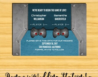 Video Game Save the Date DIY Digital Printable Announcement, Gamer Wedding, Nerd, Offbeat, Geek, Multiple Color Options