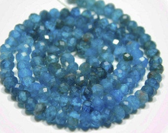 """2 Strand Natural Blue Neon Apatite Faceted Rondelle Gemstone Beads 13"""" 3.5mm - Jewelry Making"""