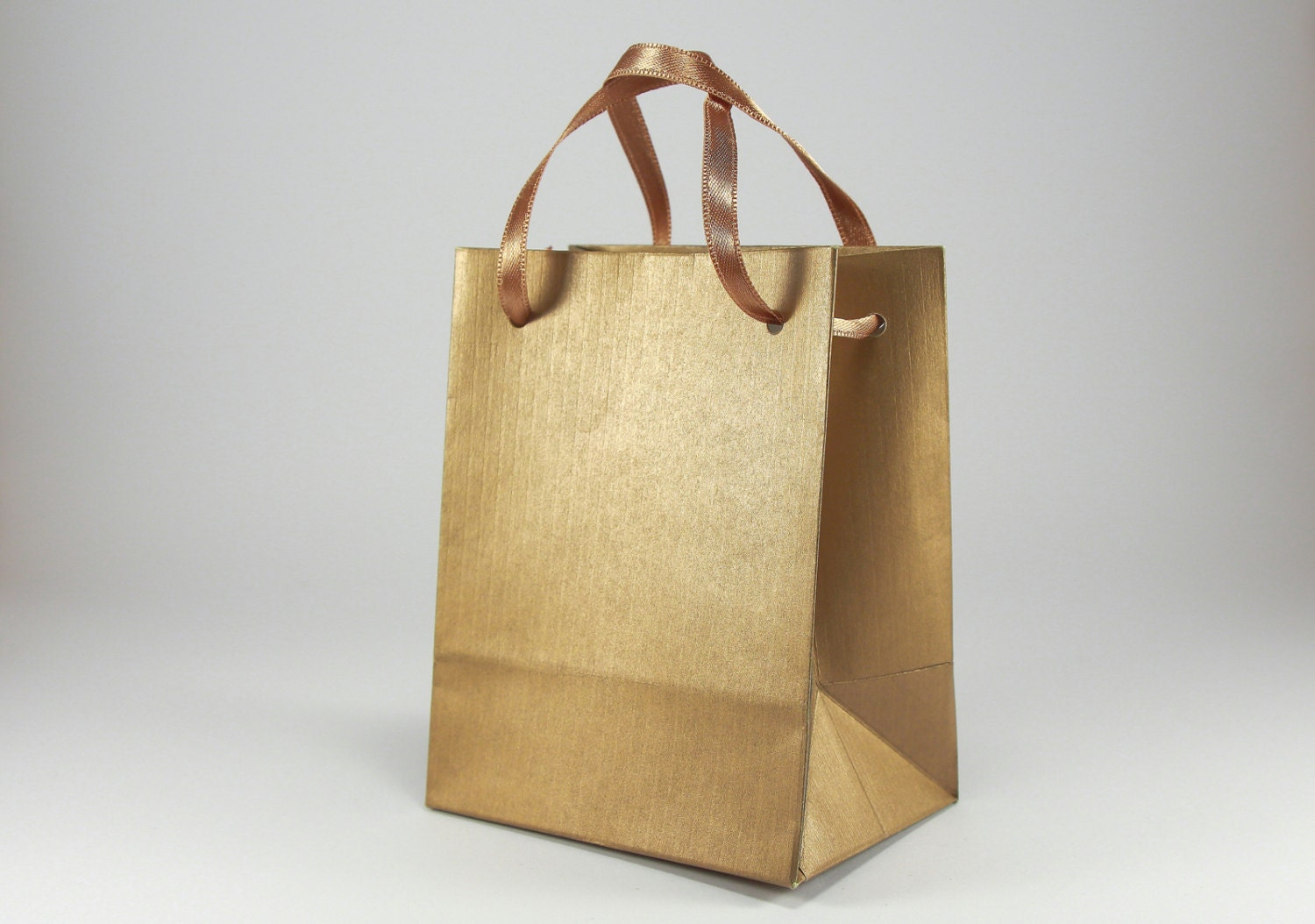 10 Extra Small Gift Bags Handmade Of Gold Ribbed Paper With Satin