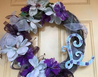 Monogram Bridal Style Wreath