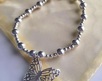 Sterling Silver Butterfly bracelet sretch fit