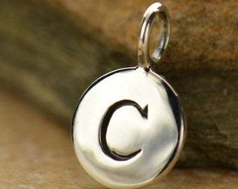 alphabet charm - Sterling Silver letter round initial charms - stamped letter charm - diy personalize silver initial charm