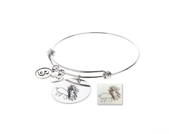 Drawing Bangle Bracelet, Drawing Engraved, Signature Engraved, Handwriting Engraved, Anniversary Gift, Memorial Gift, Gifts for Her