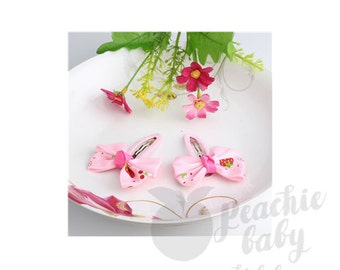 Ribbon Bow Hair Snap Clips, Light Pink with Strawberries, Pair
