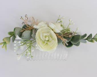 Ivory Flower Hair Comb