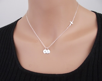 Small Sideways Cross with two (2) Initial Necklace, Personalized Necklace, Cross Necklace, Silver Sideways Cross, Sterling Silver, Celebrity