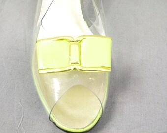 1960s Magdesians of California Slingback Shoes, Clear Vinyl Shoes, Mod Shoes 1960s Shoes, Lime Green Peep Toe Shoes
