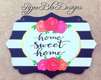 Home Sweet Home Sign, Black and White Floral Door Hanger, Spring Door Decor, Summer Wreath, Summer Door
