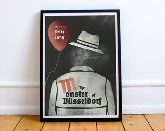 M, minimalist movie poster for Fritz Lang masterpiece, 1931 film with Peter Lorre (the monster of Düsseldorf)