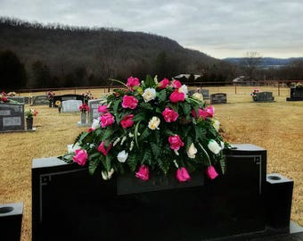 Headstone Saddle, Cemetery Flowers, Grave Decorations, Cemetery Saddle, Headstone Flowers, Grave Flowers, Cemetery Arrangement, Saddle