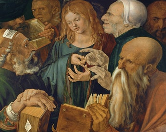 Albrecht Durer: Christ Amongst the Doctors. Fine Art Print/Poster (00164)