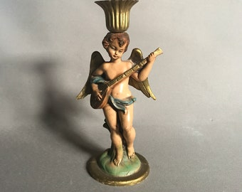 vintage musical cherub candle holder Italy
