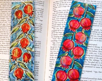 Pomegranate Bookmark, Double sided Laminated Bookmark, Jewish Gifts, Pomegranate Painting, Jewish Symbols, Judaica Art, Pomegranate Tree