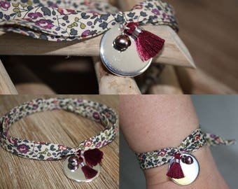Bracelet 2 laps liberty Eloise plum tie medal in sterling silver plated, Pearl gray/plum, purple Pompom