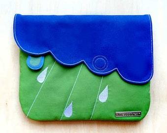 Clutch Purse, Vegan Purse, Fabric Purse, Purse with zip pocket, Blue Purse, Green Purse, Cloud design, Raindrops - Blue Apple Green Colors