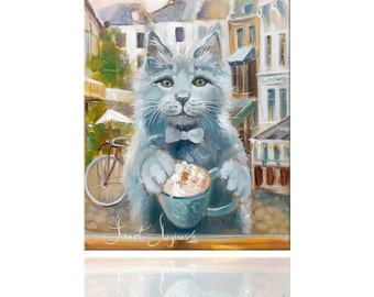 "Print ""Capuchino"". Funny Cats. Grey cat. Annet Loginova Art."