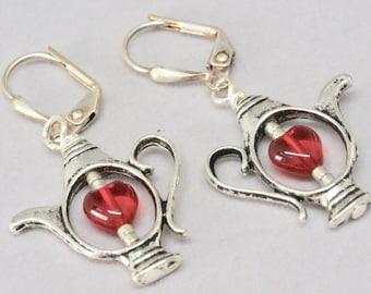 Red Heart Tea Lover's Earrings, Silver Tea Pot Earring, Mini Teapot Earrings for a Valentine Gift for Her, Teacher Gift, Tea Party Thank you
