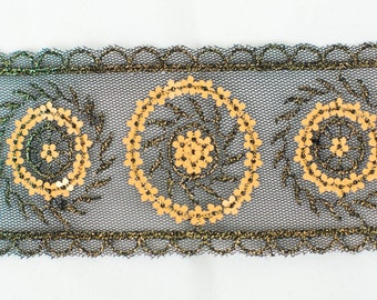 15yds Gold Sequin Embroidery on Black Net Lace Trim