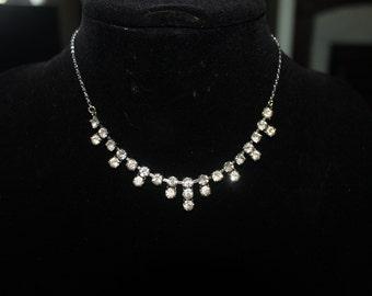 Vintage Choker Diamante Necklace Droplet style 1940-1950