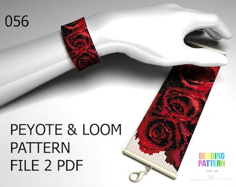 056, flower peyote, bracelet pattern, peyote even, flower loom, even peyote, pattern loom, peyote pattern, cuff loom, loom pattern, bracelet