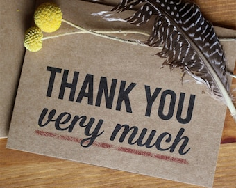 Thank You Card Set of 10 - Thank You Very Much Kraft Thank You Cards