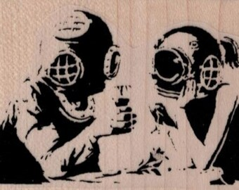 Banksy Diving Helmets   rubber stamps  cling stamp unmounted or wood mounted 19488 craft scrapbook supplies