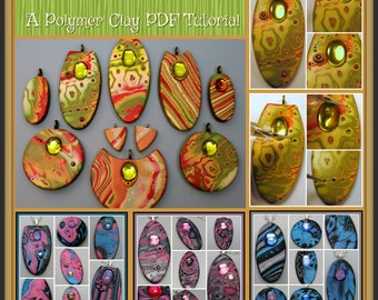 Mokume Gane Pendants and Earrings,  A Polymer Clay PDF Tutorial, DIY Jewelry