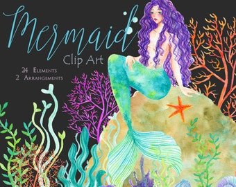 Mermaid Clip Art Handpainted Watercolor Illustration 24 Elements and 2 Arrangements Included PNG images for blog, invitation, graphic design