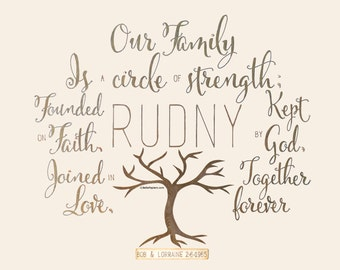 Family Tree Family Quote Christian Family Calligraphy Personalized Family Tree Original Calligraphy Art