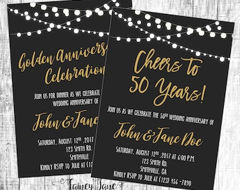 Anniversary Invitation, Golden Anniversary Invitation, 50th Anniversary Invitation, Black and Gold Invitation, Graduation Invitation
