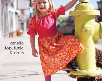 amelia top, tunic, and dress pattern by marie-madeline studio (M078)