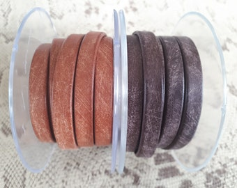 vintage Brown 8 mm flat leather European quality