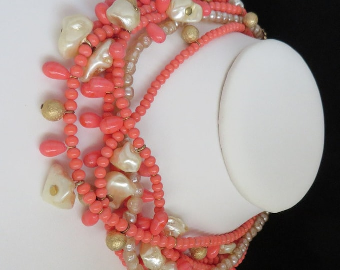 Coral Bead Necklace, Vintage Choker, Faux Pearl & Coral Bead Multistrand Necklace, Boho Necklace, Island Jewelry, Gift Ideas