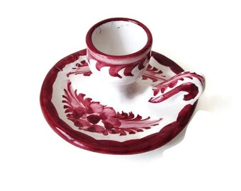 Vintage Ceramic Candle Holder from Portugal -  Hand Painted Red and White- Single Taper Candle