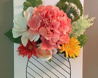 """Handmade Flower and Vase Wall Hanging Decoration 12x16"""""""