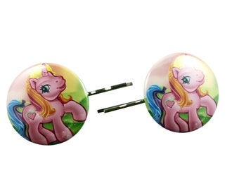 My Little Pony Pinkie Pie Vintage Bobby Pins - Hair Pins Clips Costume Cosplay MLP Pink