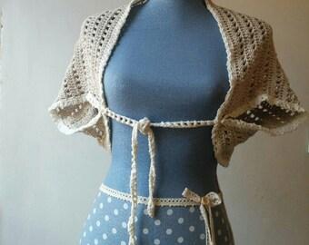 Bohemian hand crocheted bolero shrug or shawl in neutral grey and white cotton yarn.