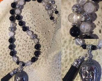Buddhist necklace with natural stones