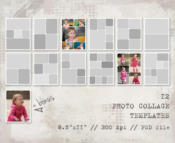 12 Storyboard Templates, 8.5x11, Rounded, Photo Collage Templates ...