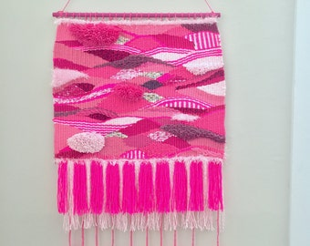 Pink Striped Bold Handwoven Wall Hanging Neon Pink, Light Pink Mauve Accents Fringe and Pom Poms Fiber Art Hand Woven Tapestry One of a Kind